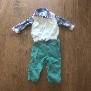 Oshkosh Boys long sleeve shirt, vest & pants 9M